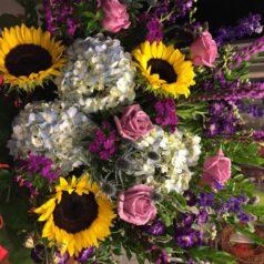 sympathy-sunflowers-hydrangeas-roses