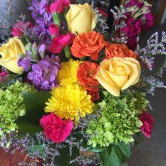 Beautiful summer mixed colors vase green hydrangeas