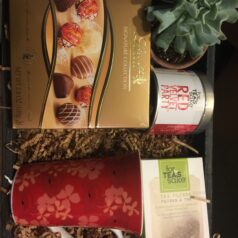 Gift box with tea and chocolate