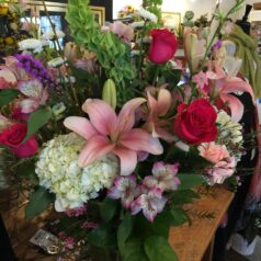 Mixed pink roses pink lilies alstro white hydrangea