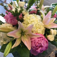 Pink peonies white hydrangeas soft pink lilies