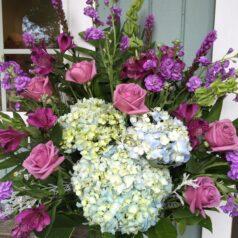 blue hydrangea lav roses stock sympathy
