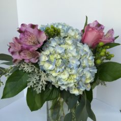 blue hydrangea purple roses green berries cube