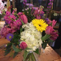 lav stock white hydrangea pink tulips liatris