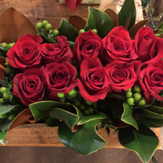 Red roses in long box
